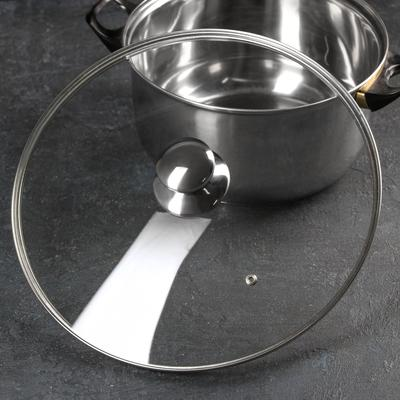 Крышка для сковороды и кастрюли стеклянная, d=32 см, с металлическим ободом, с круглой ручкой - Фото 1