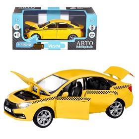 Машина металл «Lada Такси» 1:24, инерция, цвет жёлтый, открываются двери, капот и багажник, световые и звуковые эффекты