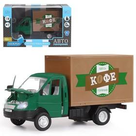 Машина металлическая «ГАЗель-бизнес Кофе» 1:28,цв зеленый, открываются двери, световые и звуковые эффекты