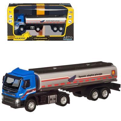 Машина металлическая «Volvo бензовоз» 1:50, цвет голубой ,откидная кабина, световые и звуковые эффекты - Фото 1