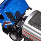 Машина металлическая «Volvo бензовоз» 1:50, цвет голубой ,откидная кабина, световые и звуковые эффекты - Фото 2