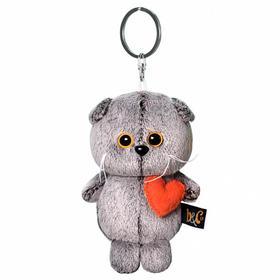 Мягкая игрушка-брелок «Кот Басик брелок с сердечком», 12 см