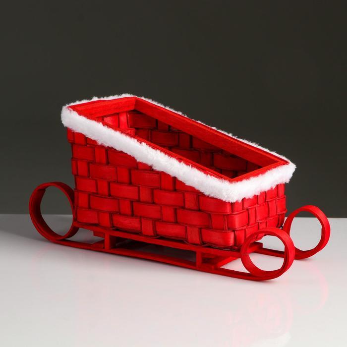 Корзина «Новогодние сани», красные, 23×13,5×10,5/16,5 см, шпон