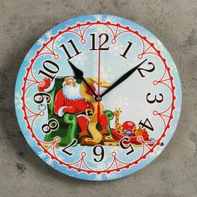 Часы настенные, серия: Новый год, 'Дед мороз', d=24 см, плавный ход Ош