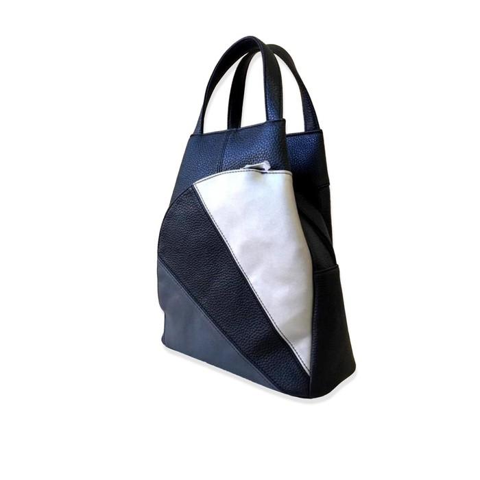 Cумка-рюкзак женская Tiburon черный-серебро-графит