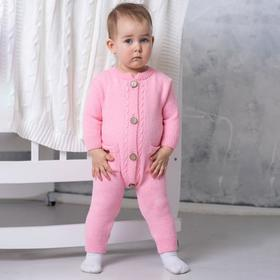 Комбинезон «Косы», цвет розовый, рост 62-68 см