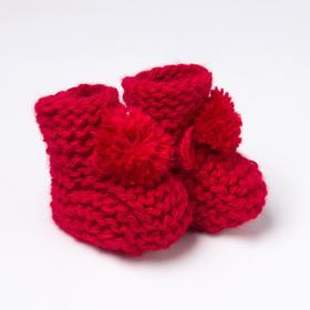 Пинетки детские, цвет красный, размер 12 ( до 1 года)