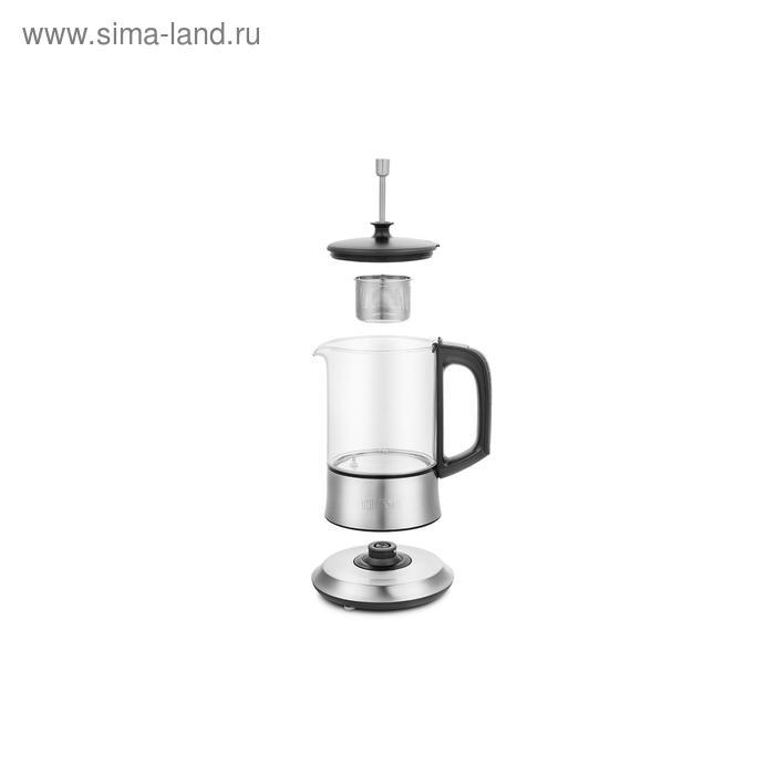 Чайник электрический Kitfort KT-6108, 1100 Вт, 0.5 л, стекло, регулировка t°, серебристый