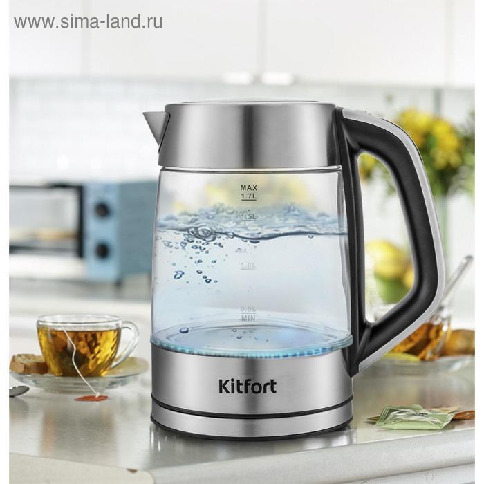 Чайник электрический Kitfort KT-6114, 2200 Вт, 1.7 л, стекло, регулировка t°, серебристый
