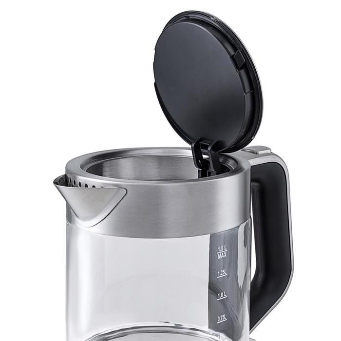 Чайник электрический Kitfort KT-617, 2200 Вт, 1.5 л, стекло, автоотключение, серебристый