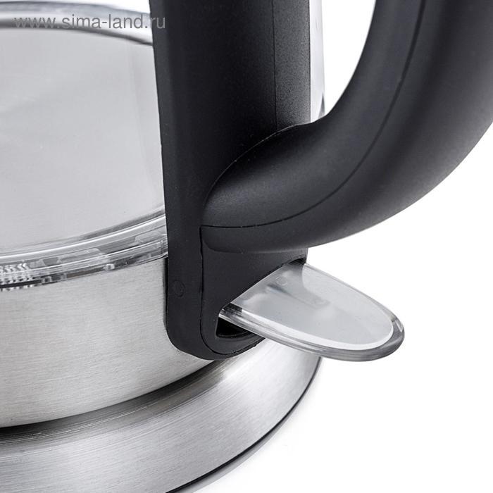 Чайник электрический Kitfort KT-619, 2200 Вт, 1.7 л, стекло, автоотключение, серебристый