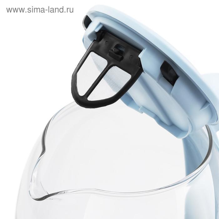 Чайник электрический Kitfort KT-640-1, 2200 Вт, 1.5 л, стекло, регулировка t°, голубой