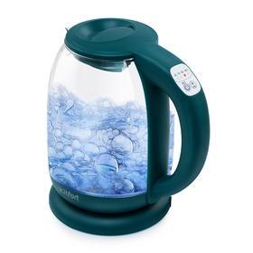 Чайник электрический Kitfort KT-640-4, стекло, 1.5 л, 2200 Вт, регулировка t°, зелёный