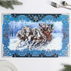 Салфетка на стол «С Новым Годом», кони ПВХ 43х40