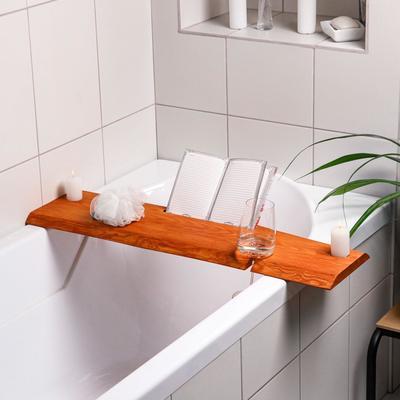 Столик на ванну деревянный, накладная, с вырезом для гаджетов, ясень, 80х20х2 см - Фото 1