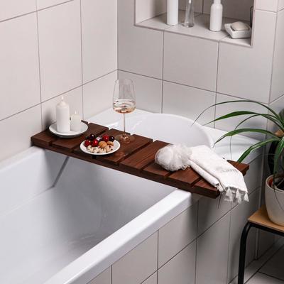 """Столик на ванну деревянный """"Натурал"""" накладной, тёмный, 80×24×5 см - Фото 1"""