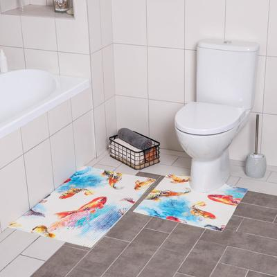 Набор ковриков для ванны и туалета «Рыбка», 2 шт: 50×50, 50×80 см