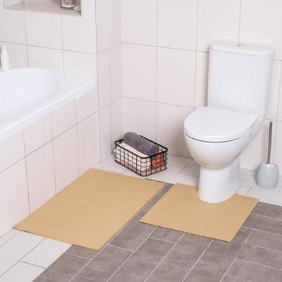 Набор ковриков для ванны и туалета «Моно бежевый», 2 шт: 50×50, 50×80 см