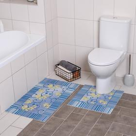 Набор ковриков для ванны и туалета «Листья голубые», 2 шт: 50×50, 50×85 см