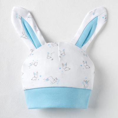 Шапочка детская «Нежный зайка», цвет белый/голубой, размер 40