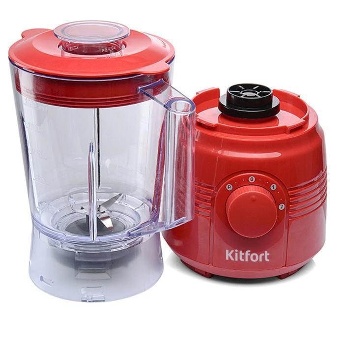 Блендер Kitfort KT-1331-2, стационарный, 350 Вт, 1.25/0.2 л, 2 скорости, красный