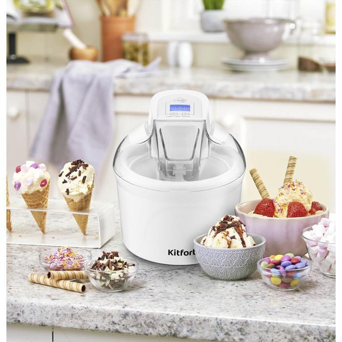 Мороженица Kitfort KT-1808, полуавтомат, 12 Вт, 1.5 л, съёмная чаша, белая