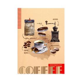 Еженедельник А5, 96 страниц, обложка мелованный картон 'Кофейная тема' Ош