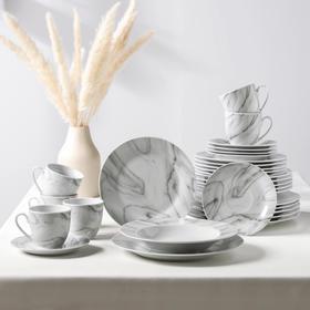 Сервиз столовый Доляна «Мрамор»,24 предмета: тарелки 19 / 21×3,5 / 24 см, чайная пара 200 мл, цвет серый