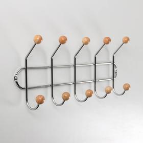 Вешалка настенная на 5 двойных крючков «Шарики», 15×36×8 см, дерево