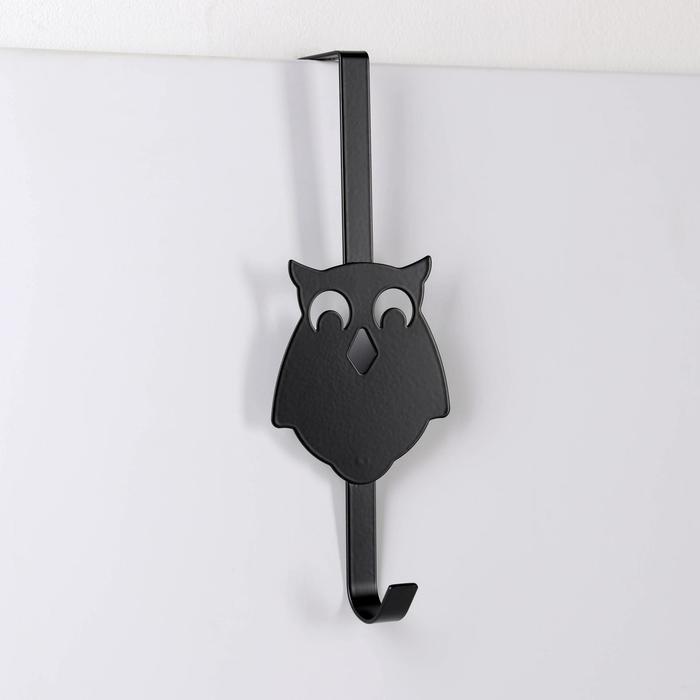 Вешалка надверная на 1 крючок «Совы», 25×9×8,2 см, цвет чёрный