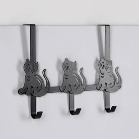 Вешалка надверная на 3 крючка «Котики», 25×40×8,2 см, цвет чёрный