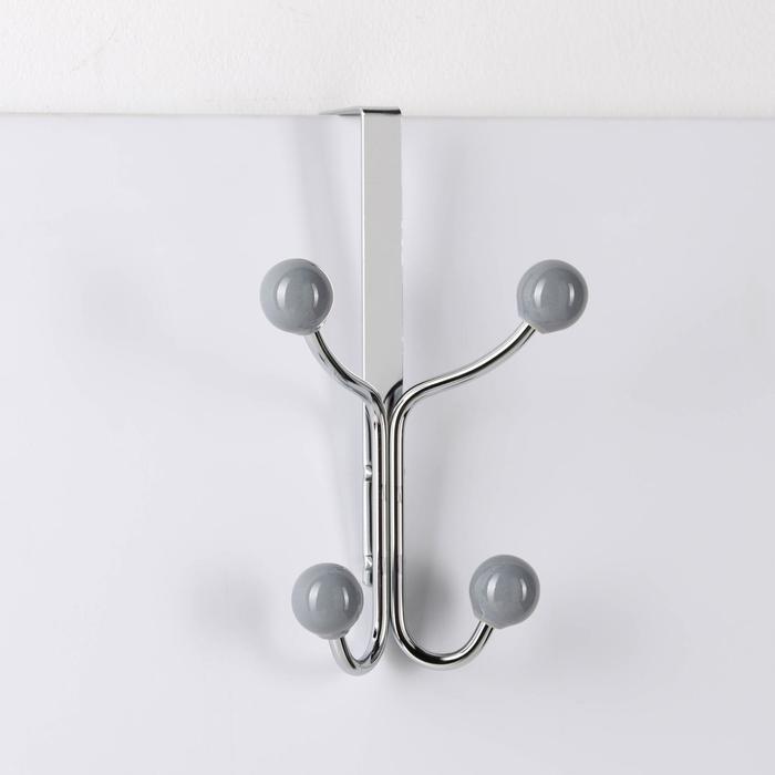 Вешалка надверная на 4 крючка «Шарики», 19×12×10 см, цвет хром