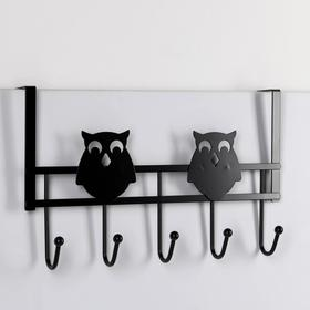 Вешалка надверная на 5 крючков «Совы», 24,5×40×8,5 см, цвет чёрный