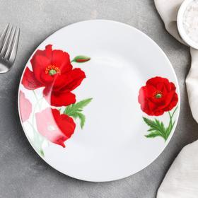 Тарелка пирожковая Доляна «Маки», d=17,5 см,цвет белый