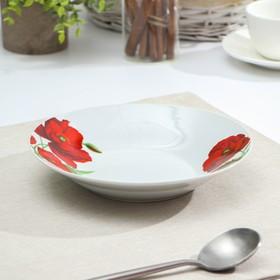 Тарелка суповая Доляна «Маки», d=20,5 см, цвет белый