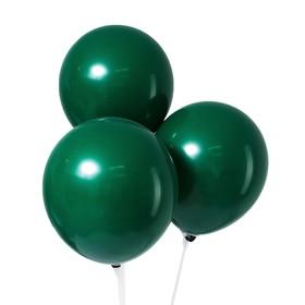"""Шар латексный 12"""", пастель, набор 5 шт., цвет темно-зелёный"""