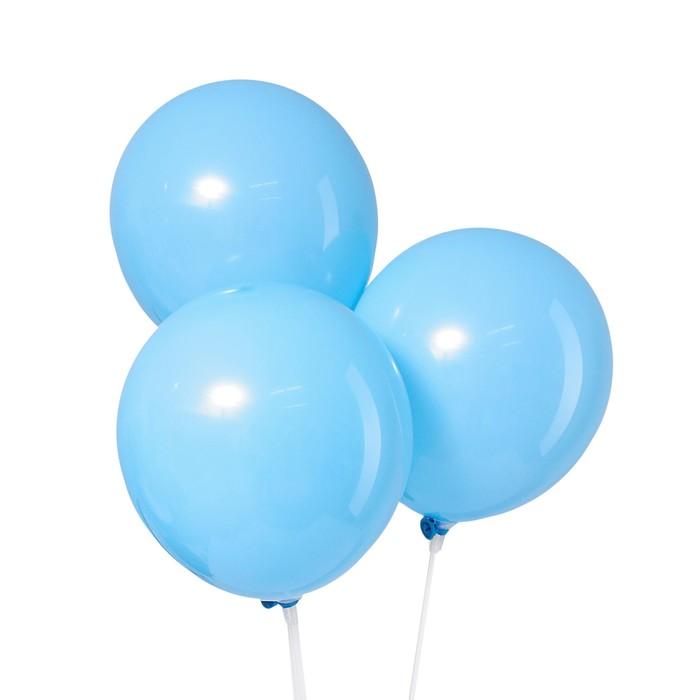 Шар латексный 12, пастель, набор 5 шт., цвет голубой