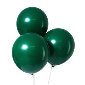 """Шар латексный 10"""", пастель, набор 5 шт., цвет темно-зелёный"""