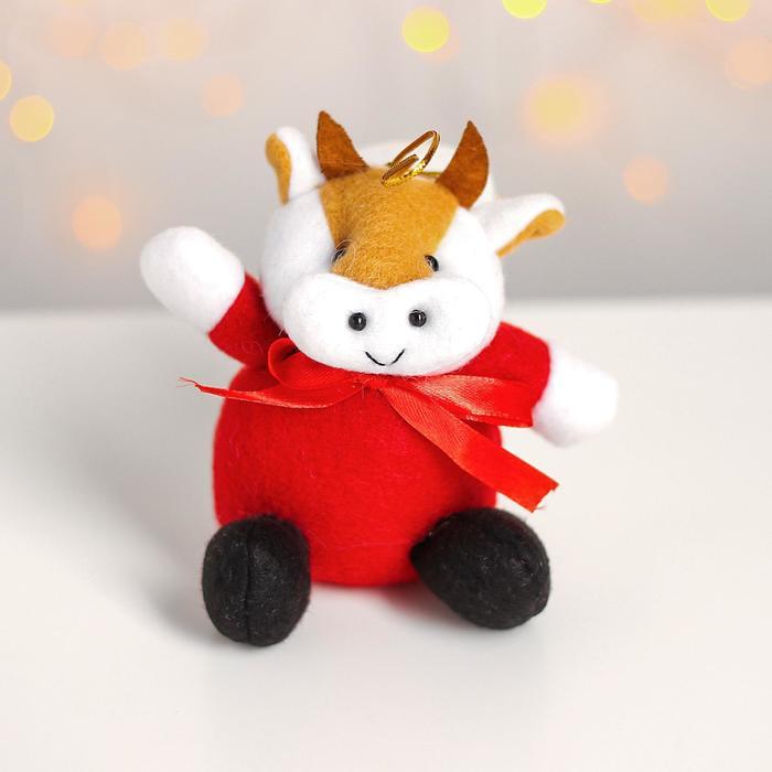 Мягкая игрушка Коровка с бантом, на подвесе, цвета МИКС