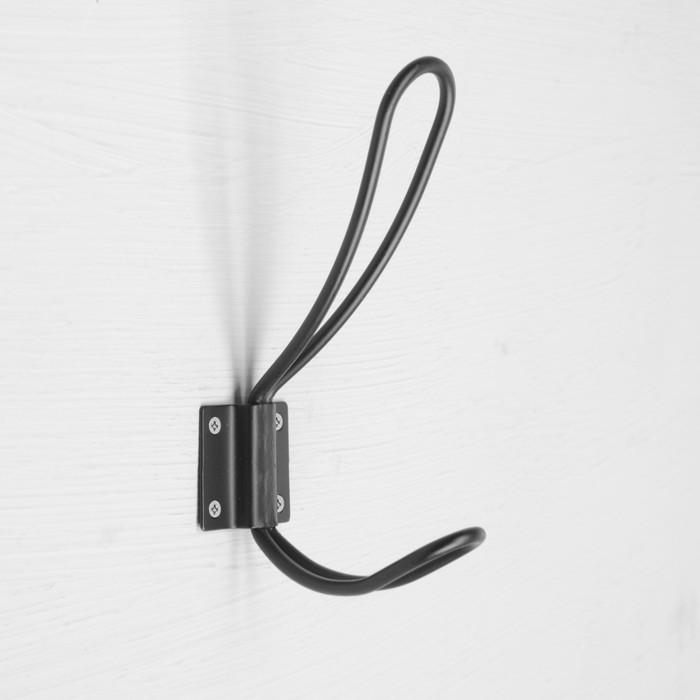 Крючок мебельный, двухрожковый, цвет черный