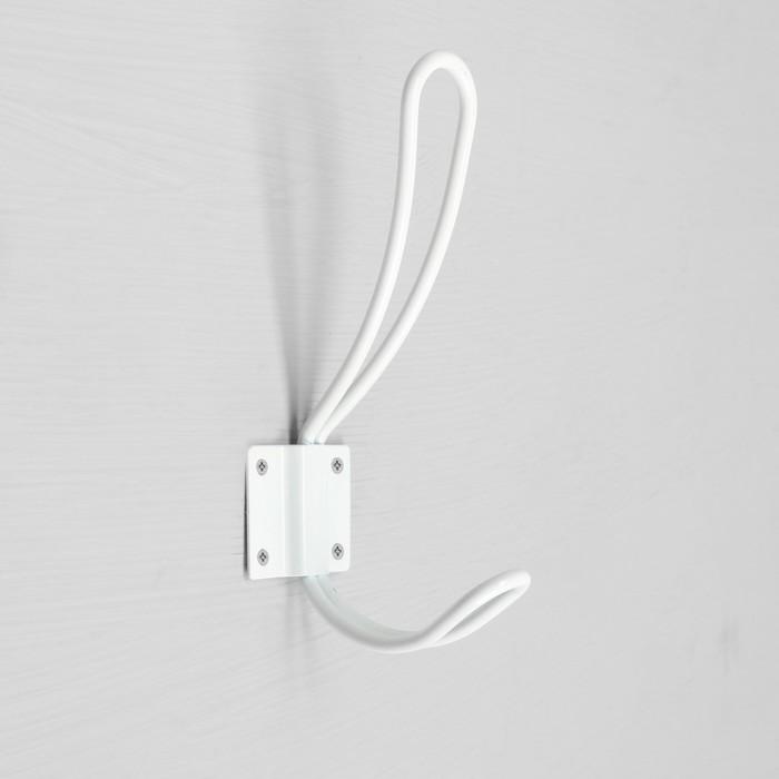 Крючок мебельный, двухрожковый, цвет белый