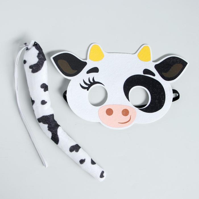 Карнавальный набор Коровка Вишенка, маска фетр, хвост