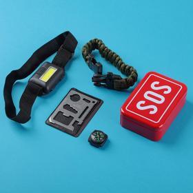 Набор для выживания 4в1 (фонарь налобный, карта выживания, паракорд, компас) Ош