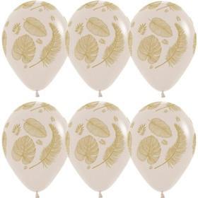 """Шар латексный 12"""" «Золотые листья», пастель, 5-сторонний, набор 10 шт., белый песок"""