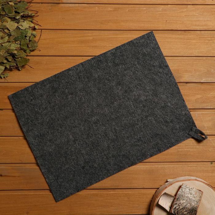 Коврик для бани и сауны, войлок серый, 38×52 см