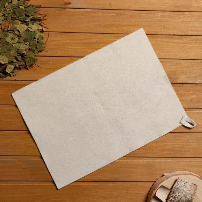Коврик для бани и сауны, войлок белый, 38×52 см