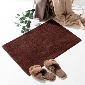 Полотенце для ног жаккард Ножки 50х70 см, коричневый, хлопок 100%, 700г/м2