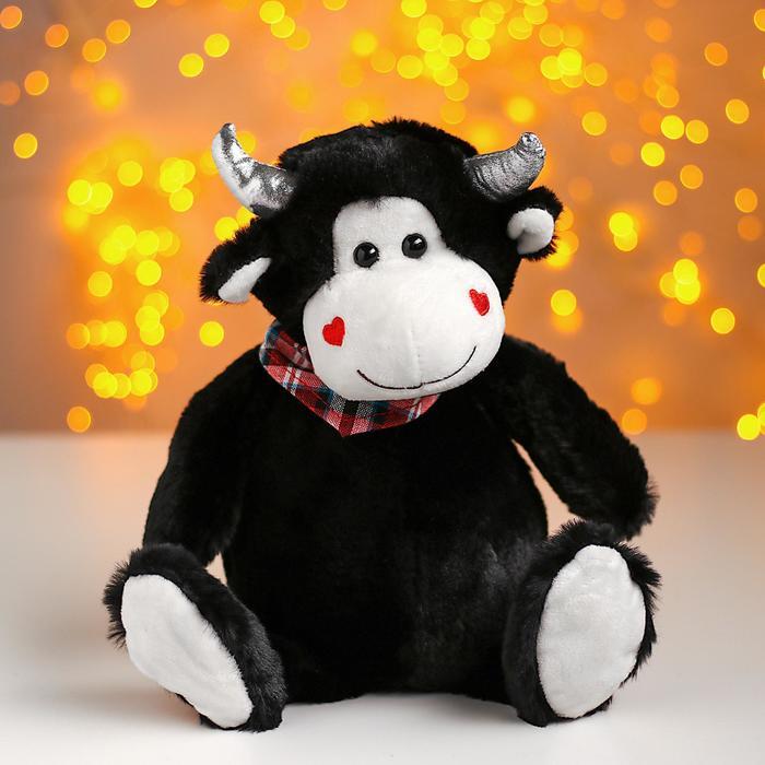 Мягкая игрушка Влюблённый бычок, цвет чёрный