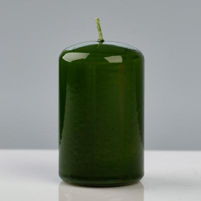 Свеча - цилиндр лакированная, 5×8 см, зелёная