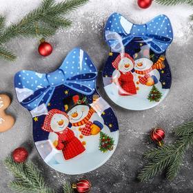 Набор сервировочных блюд Доляна «Бант. Счастливые снеговики», 2 шт: 18,5×13 см, 23×16,7 см